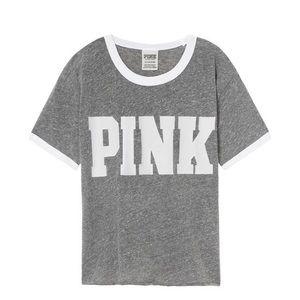 PINK Victoria's Secret Ringer Grey Tee